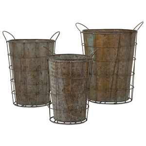 IMAX Worldwide Home Pots and Planters Leah Metal Flower Pots - Set of 3