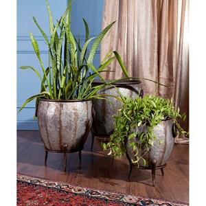 IMAX Worldwide Home Pots and Planters Mureilene Galvanized Planters - Set of 3