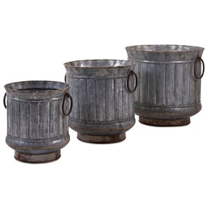 IMAX Worldwide Home Pots and Planters Griffin Galvanized Planters with Brass Edgin