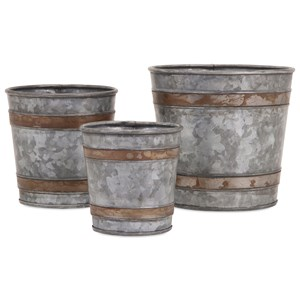 IMAX Worldwide Home Pots and Planters Becki Galvanized Pots - Set of 3