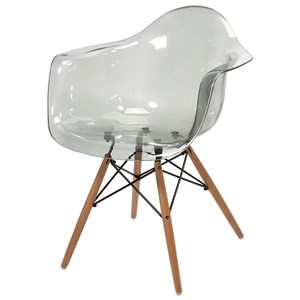 IMAX Worldwide Home Seating Beckett Grey Transparent Chair with Wood Leg