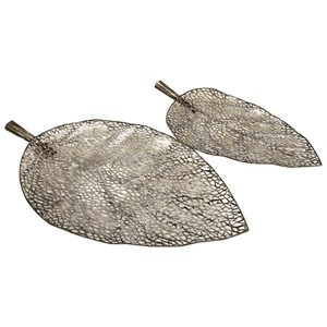 IMAX Worldwide Home Trays, Plates, and Platters Elise Cutout Leaf Trays - Set of 2