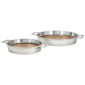IMAX Worldwide Home Trays, Plates, and Platters Brice Wood and Aluminum Trays - Set of 2