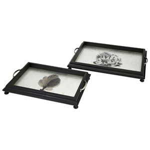 IMAX Worldwide Home Trays, Plates, and Platters Martinique Coral Decorative Trays - Set of 2
