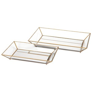 IMAX Worldwide Home Trays, Plates, and Platters Maison Decorative Glass Trays - Set of 2