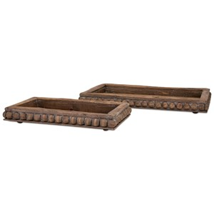 IMAX Worldwide Home Trays, Plates, and Platters Kelly Wooden Decorative Trays - Set of 2