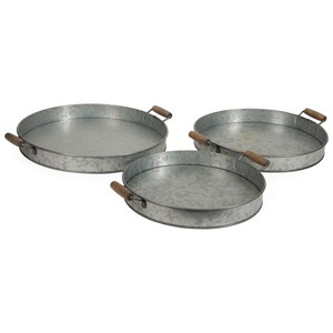 IMAX Worldwide Home Trays, Plates, and Platters Galvanized Round Trays - Set of 3