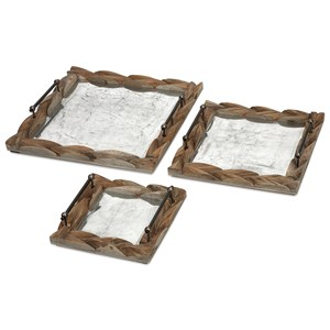 IMAX Worldwide Home Trays, Plates, and Platters Santiago Wooden Trays - Set of 3
