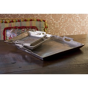 IMAX Worldwide Home Trays, Plates, and Platters Lindi Aluminum Trays - Set of 3