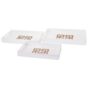 IMAX Worldwide Home Trays, Plates, and Platters Giselle White Lacquer Trays- Set of 3
