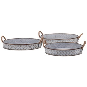 IMAX Worldwide Home Trays, Plates, and Platters Bretton Metal Trays - Set of 3