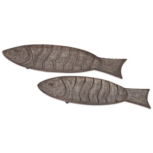 IMAX Worldwide Home Trays, Plates, and Platters Carino Galvanized Fish Trays - Set of 2