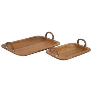 IMAX Worldwide Home Trays, Plates, and Platters Tabari Wood Trays with Jute Handle - Set of