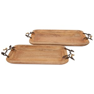 IMAX Worldwide Home Trays, Plates, and Platters Victoria Trays with Brass Handles - Set of 2