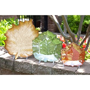 IMAX Worldwide Home Trays, Plates, and Platters Harvest Leaves Glass Plates - Set of 3