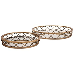 IMAX Worldwide Home Trays, Plates, and Platters Prestco Mirrored Trays - Set of 2