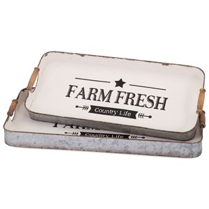 IMAX Worldwide Home Trays, Plates, and Platters Farm Fresh Decorative Trays - Set of 2