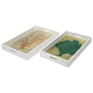 IMAX Worldwide Home Trays, Plates, and Platters Sea Fan Wood and Glass Trays - Set of 2