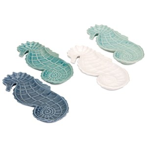 IMAX Worldwide Home Trays, Plates, and Platters Sun Coast Seahorse Plates - Ast 4