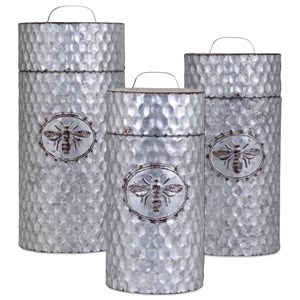 IMAX Worldwide Home Trisha Yearwood Honeybee Galvanized Container - Set of 3