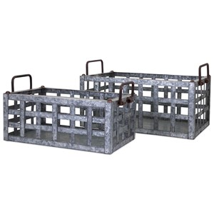 IMAX Worldwide Home Trisha Yearwood Honeybee Galvanized Crates - Set of 2