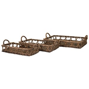 IMAX Worldwide Home Trisha Yearwood Outer Banks Woven Trays - Set of 3