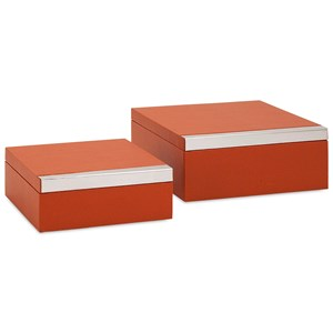 IMAX Worldwide Home Trisha Yearwood Persimmon Shagreen Boxes - Set of 2