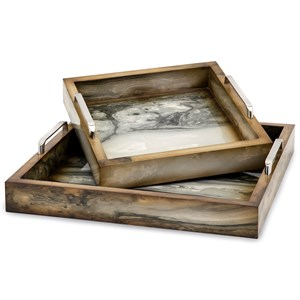IMAX Worldwide Home Trisha Yearwood New Frontier Marly Decorative Trays - Set of