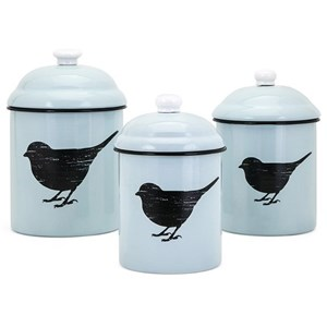 IMAX Worldwide Home Trisha Yearwood Songbird Enamel Canisters - Set of 3