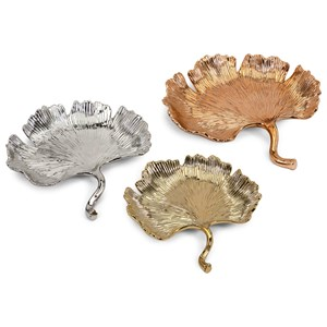 IMAX Worldwide Home Trisha Yearwood Persimmon Ginkgo Leaf Trays - Set of 3
