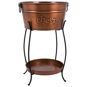 IMAX Worldwide Home Trisha Yearwood Persimmon Beverage Tub with Tray and Stand