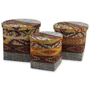IMAX Worldwide Home Trisha Yearwood Tymon Waterhyacinth Baskets with Lids - Set