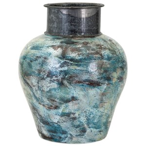 IMAX Worldwide Home Vases Bastilla Large Vase with Metal Neck