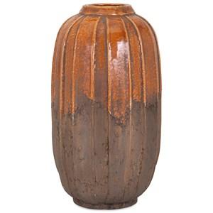 IMAX Worldwide Home Vases Simone Large Orange Stone Ceramic Vase
