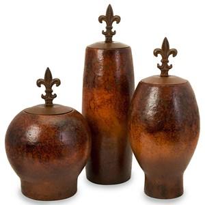 IMAX Worldwide Home Vases Mafalda Vases with Fleur-de-Lis Iron Lids -