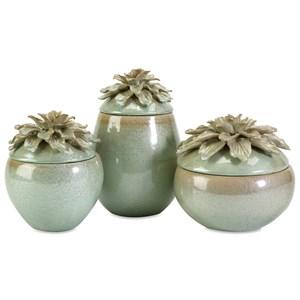 IMAX Worldwide Home Vases Tilly Floral Lidded Vases - Set of 3
