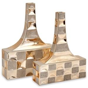 IMAX Worldwide Home Vases Toucey Golden Vases - Set of 2