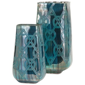 IMAX Worldwide Home Vases Piper Small Blue Etched Vase