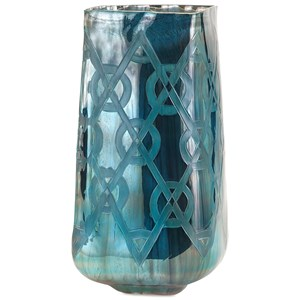 IMAX Worldwide Home Vases Piper Large Blue Etched Vase