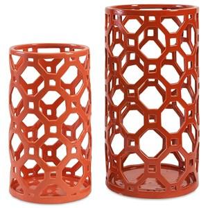 IMAX Worldwide Home Vases Archard Cutout Ceramic Vases - Set of 2