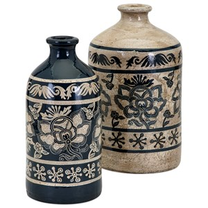 IMAX Worldwide Home Vases Laural Large Hand-painted Vase