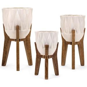 IMAX Worldwide Home Vases Amara Vases on Wood Stands - Set of 3