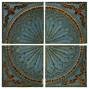 IMAX Worldwide Home Wall Art Blue Quarter Medallion Wall Panels - Set of