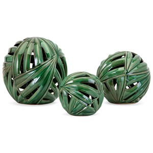IMAX Worldwide Home Wall Art Palmetto Wall or Deco Balls - Set of 3