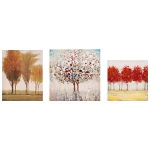 IMAX Worldwide Home Wall Art Miniature Tree Gallery Art - Set of 3