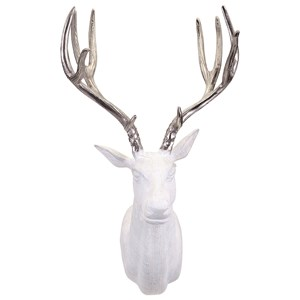 IMAX Worldwide Home Wall Art Bowen White and Silver Deer Wall Mount