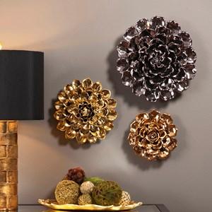 IMAX Worldwide Home Wall Art Metallic Large Ceramic Wall Flower