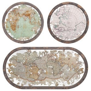 IMAX Worldwide Home Wall Art Mirrored Map Wall Decor - Set of 3