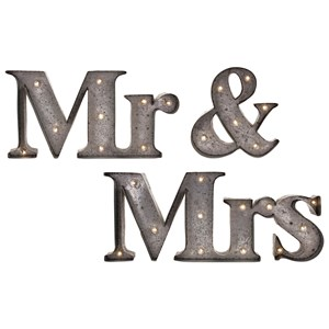 IMAX Worldwide Home Wall Art Mr. & Mrs. Lighted Signs - Set of 3