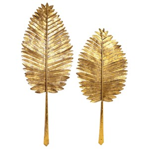 IMAX Worldwide Home Wall Art Milano Gold Leaf Wall Leaves - Set of 2